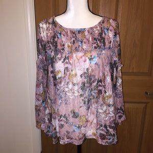 Anthropologie Akemi + Kin floral sheer lace blouse